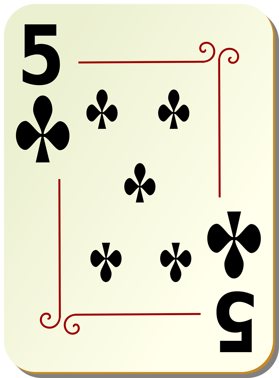 Illustration of a Five of Clubs playing card : Free Stock Photo