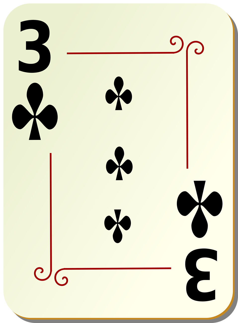 Illustration of a Three of Clubs playing card : Free Stock Photo