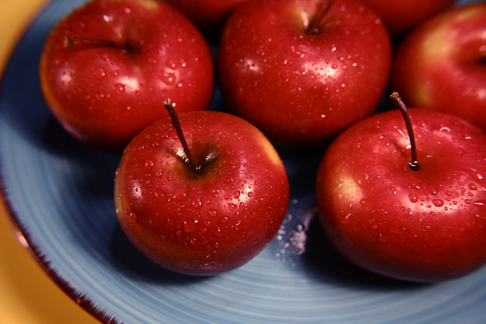 A plate of red Rome Beauty apples : Free Stock Photo