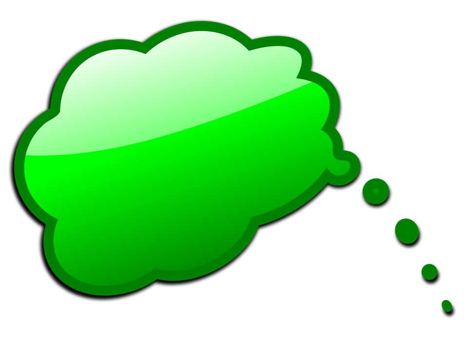 Illustration of a green cartoon speech bubble with a transparent background.