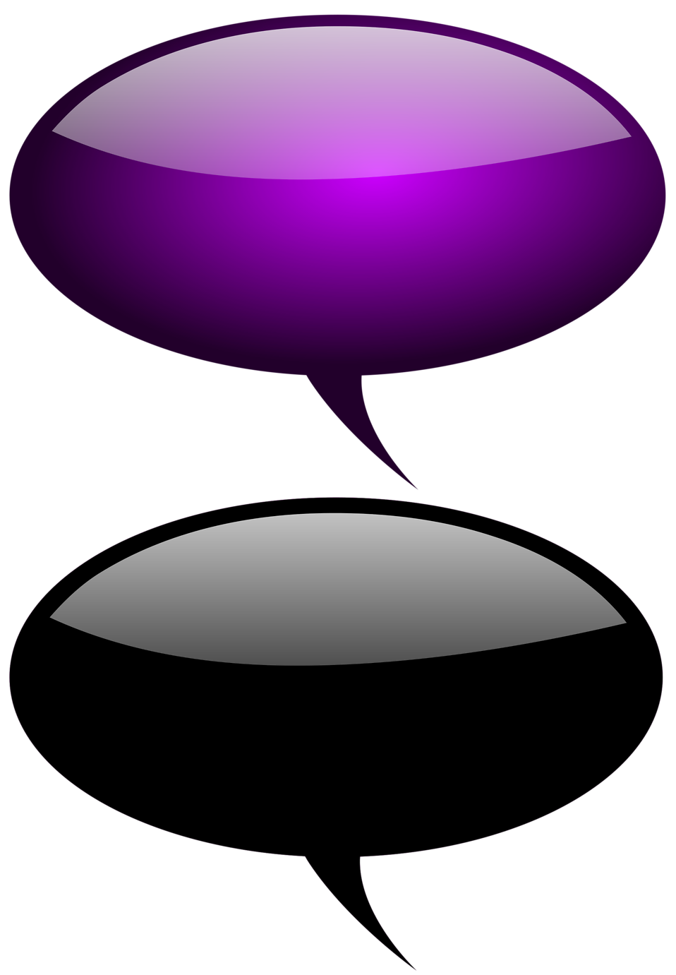 Collection of glossy speech bubbles with a transparent background.