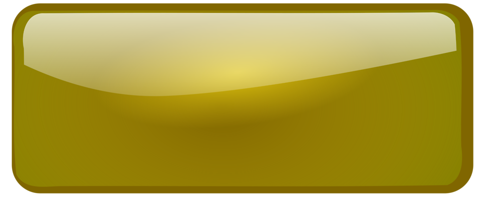 Illustration of a blank glossy rectangular button with a transparent background.