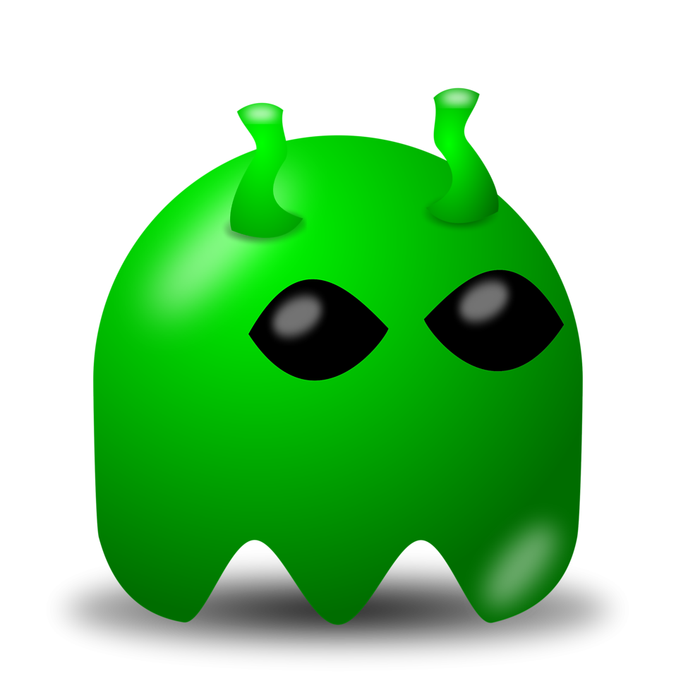 Illustration of an arcade styled cartoon alien ghost : Free Stock Photo