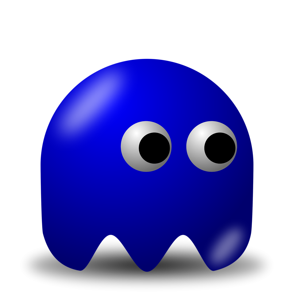 Illustration of an arcade styled blue ghost : Free Stock Photo