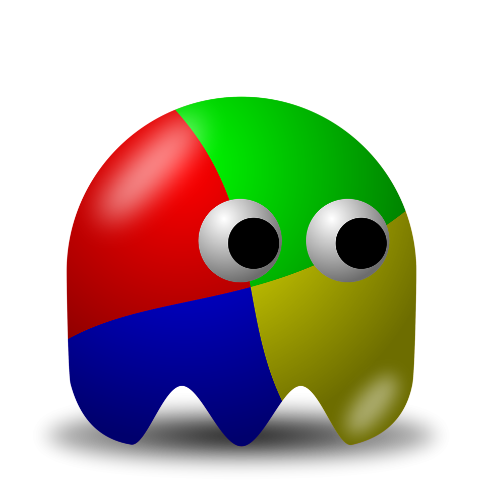 Illustration of an arcade styled four colored ghost : Free Stock Photo