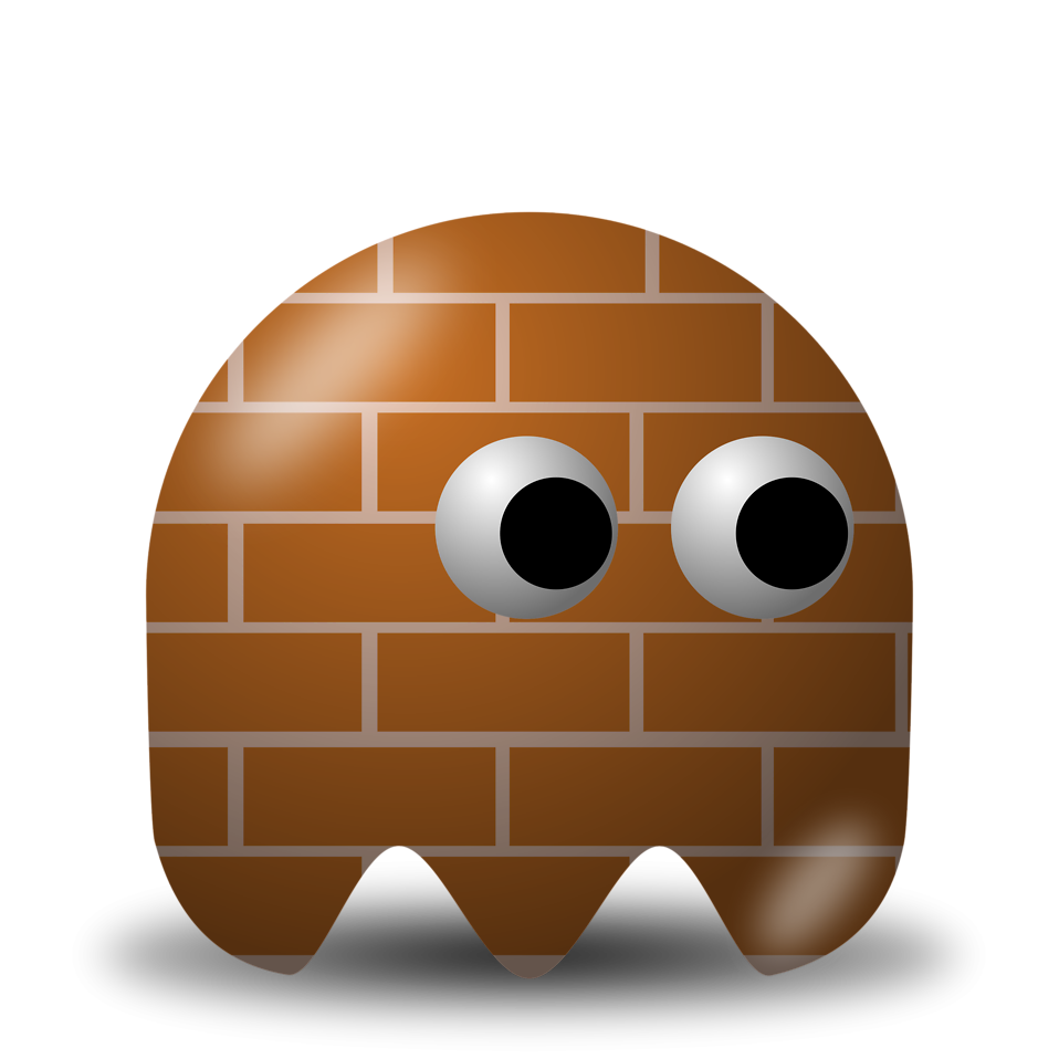 Illustration of an arcade styled brick ghost : Free Stock Photo