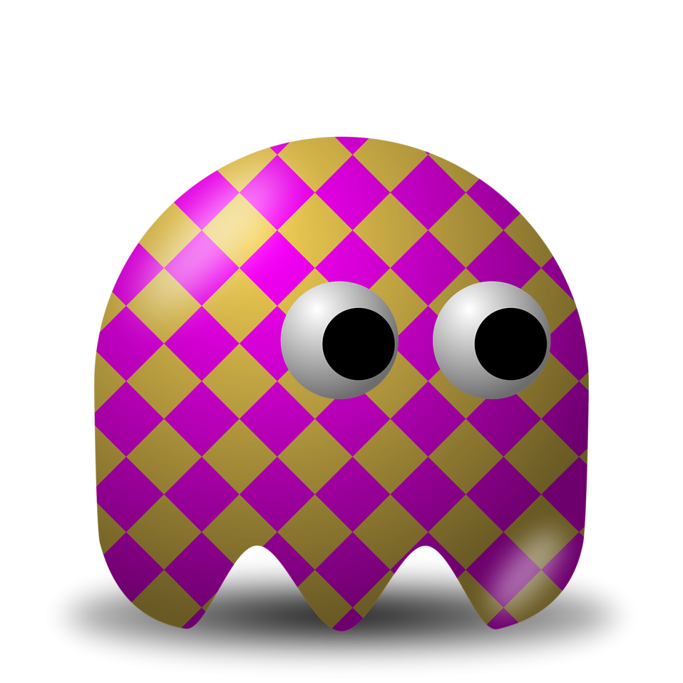 Illustration of an arcade styled purple and gold ghost : Free Stock Photo