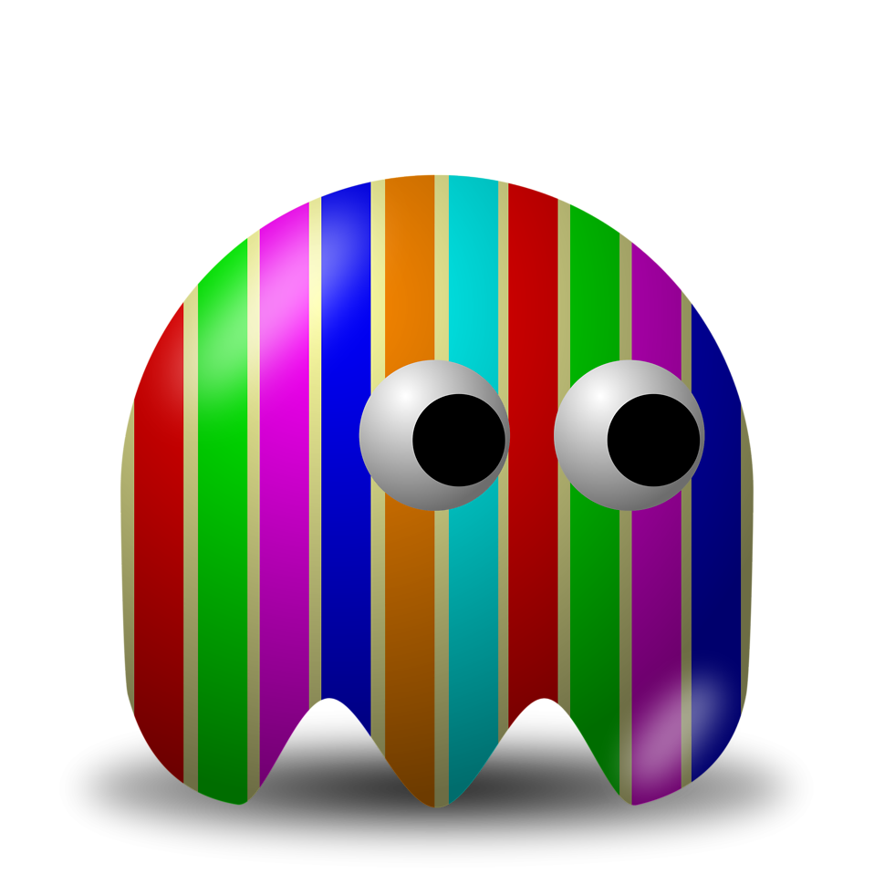 Illustration of an arcade styled rainbow striped ghost : Free Stock Photo