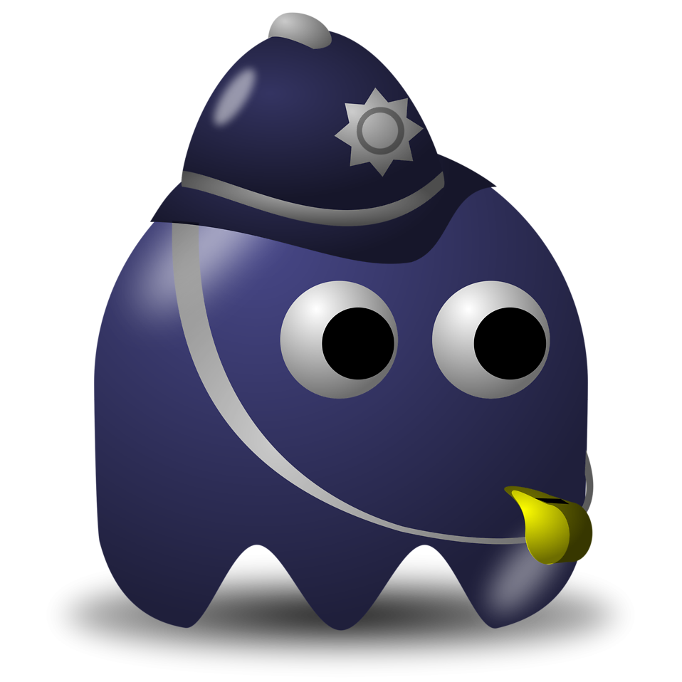 Illustration of an arcade styled policeman ghost : Free Stock Photo