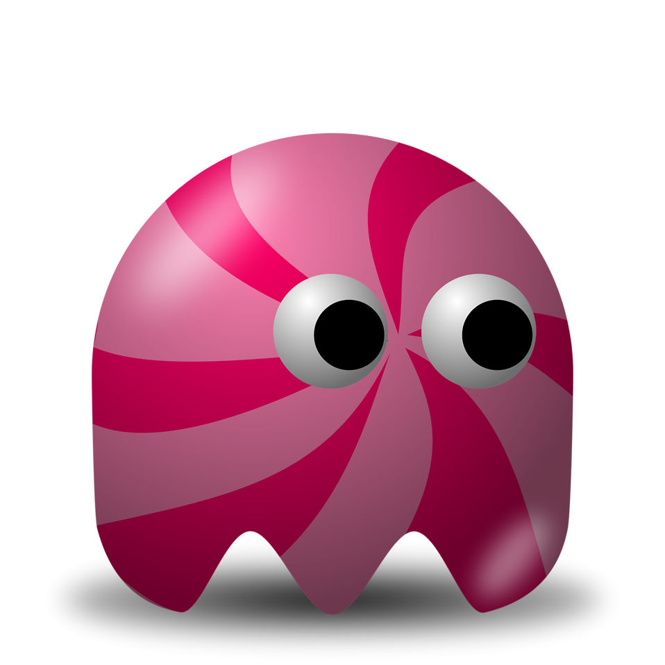 Illustration of an arcade styled pink swirl ghost : Free Stock Photo