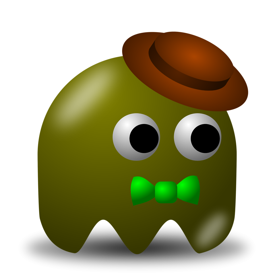 Illustration of an arcade styled green ghost wearing a hat : Free Stock Photo