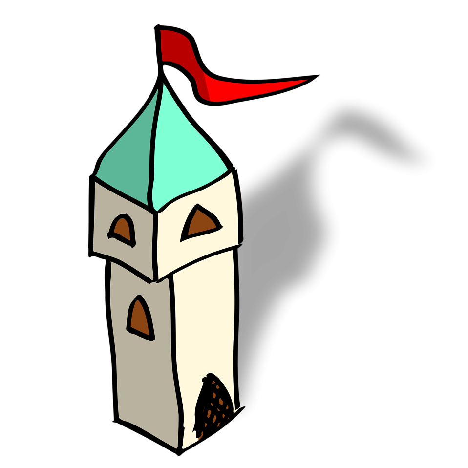 Illustration of a small cartoon castle tower : Free Stock Photo