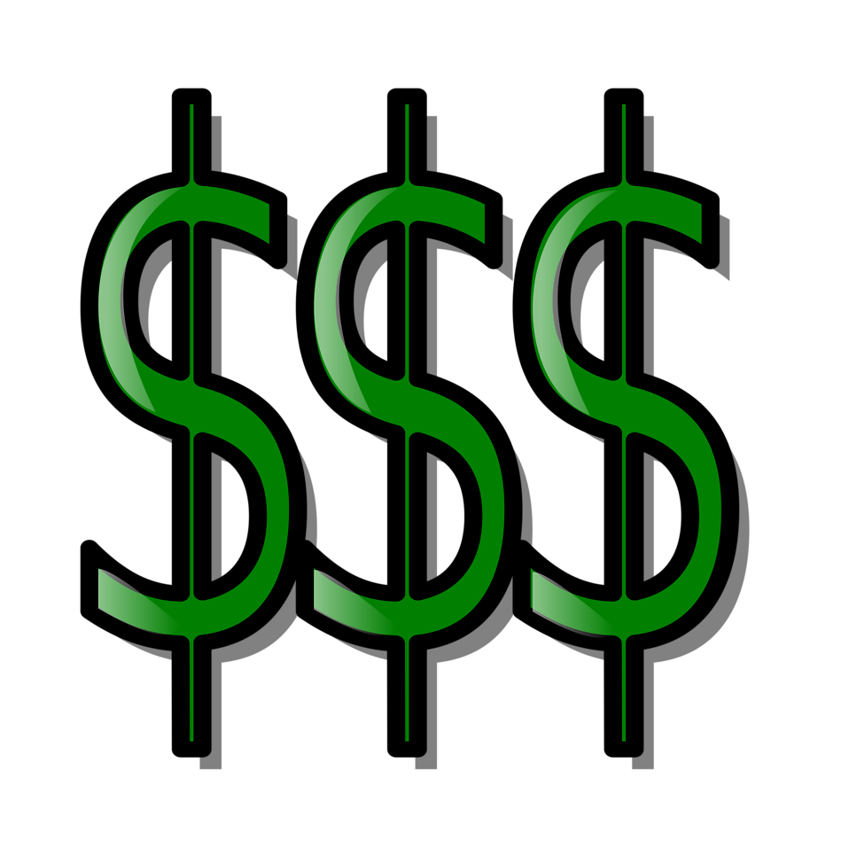 Illustration of dollar signs with a transparent background.