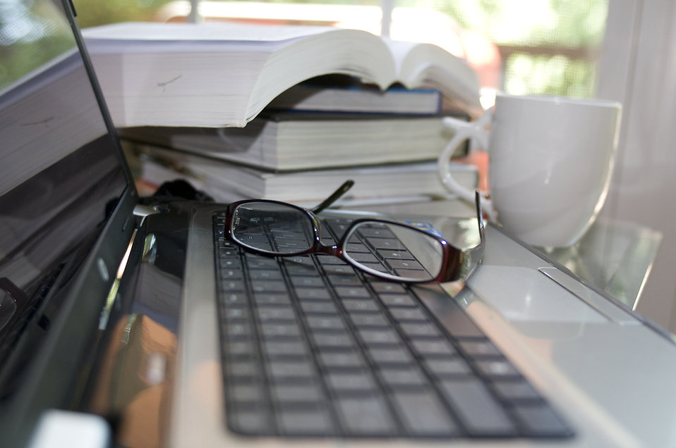 A laptop keyboard with glasses : Free Stock Photo