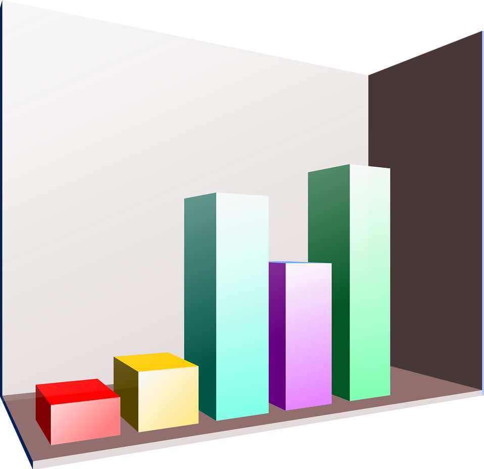 Illustration of a 3D bar chart : Free Stock Photo
