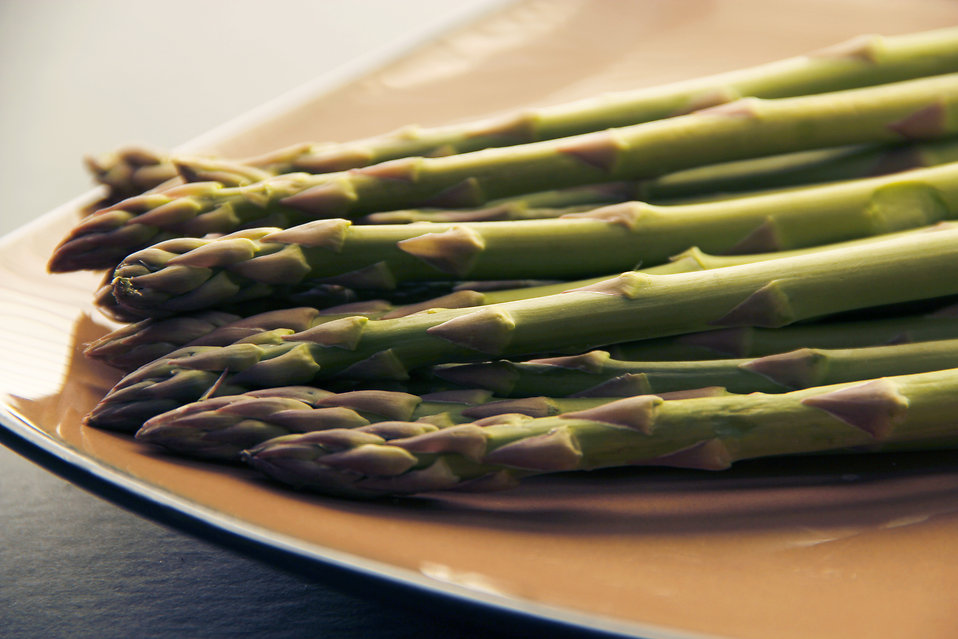 A plate of freshly cooked asparagus : Free Stock Photo