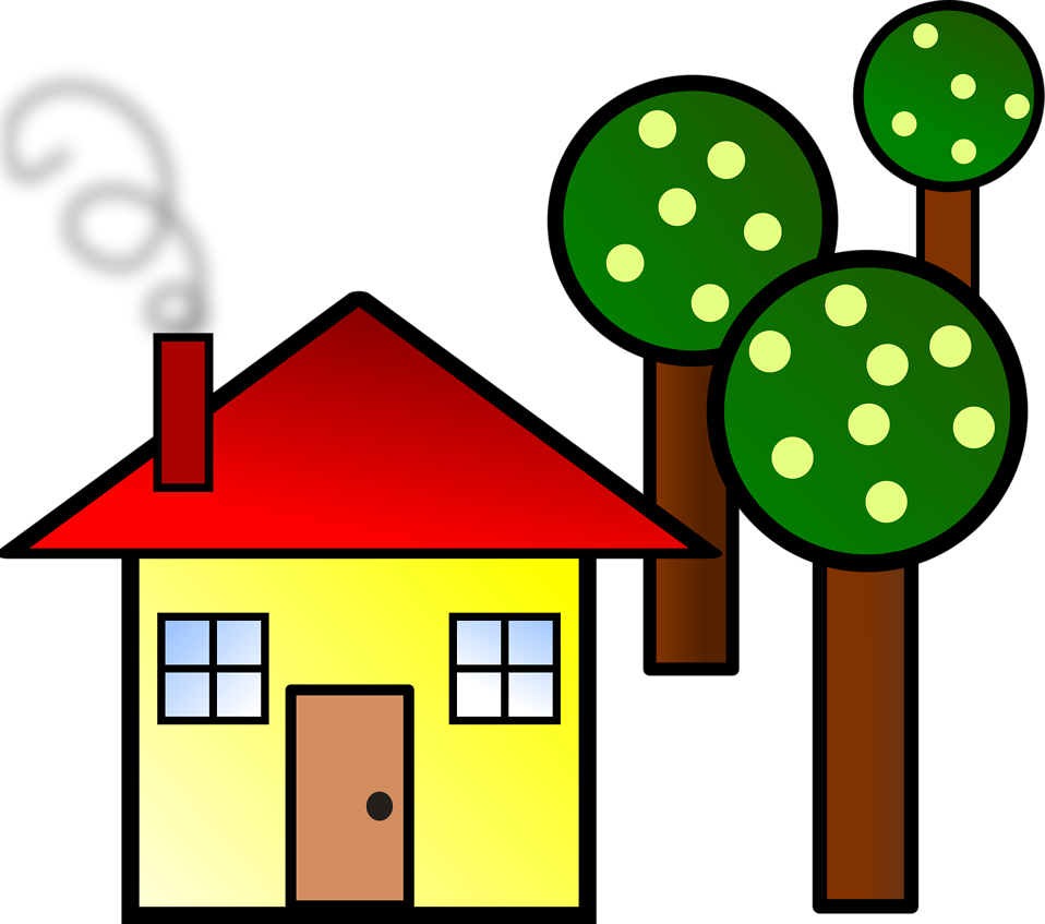 Illustration of a house with trees : Free Stock Photo