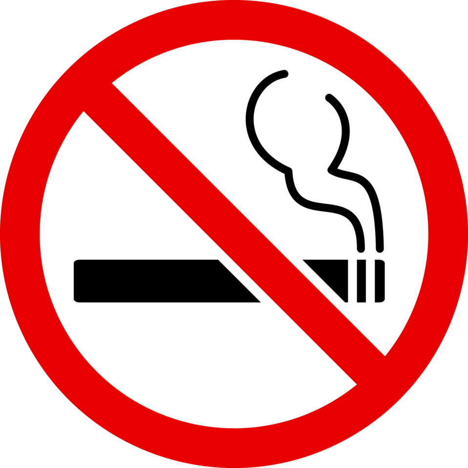 Illustration of a no smoking symbol with a transparent background.