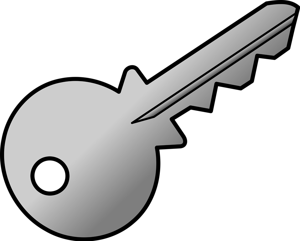 Illustration of a silver key : Free Stock Photo