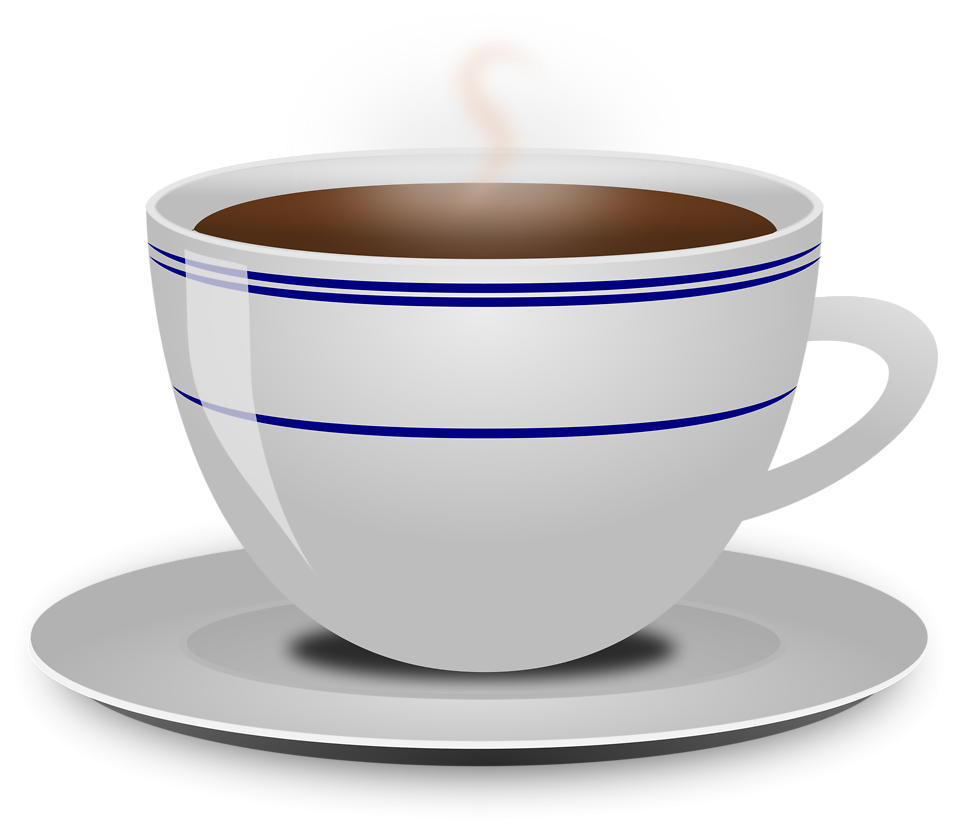 Illustration of a hot cup of coffee with a transparent background.