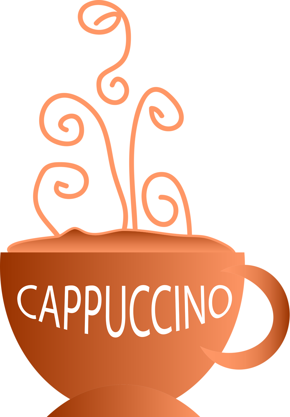 Illustration of a hot cup of cappuccino with a transparent background