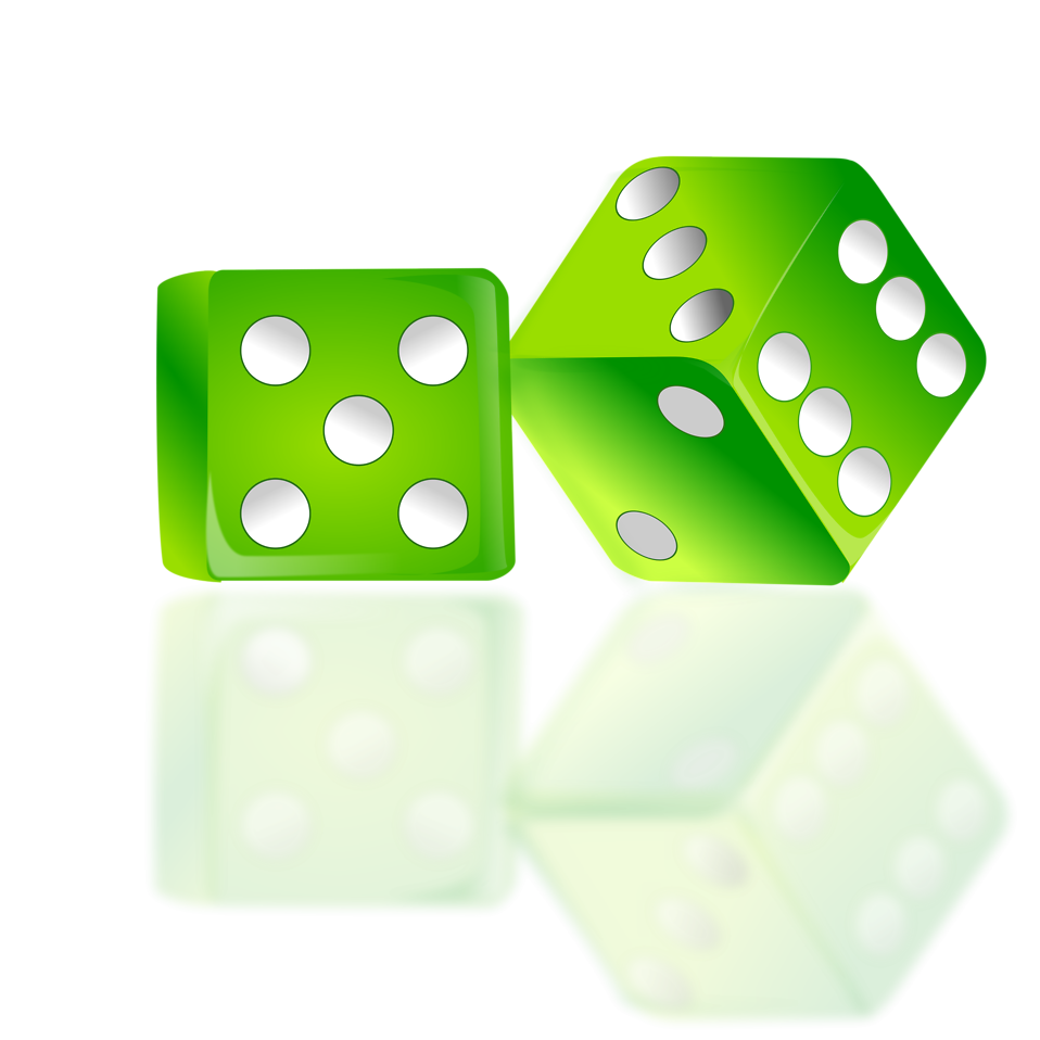 Illustration of a pair of green dice : Free Stock Photo