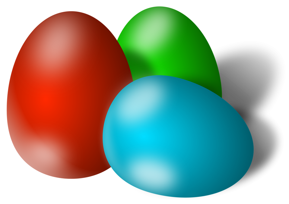 Illustration of three colored Easter eggs : Free Stock Photo
