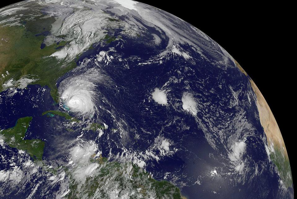 Satellite view of a hurricane : Free Stock Photo
