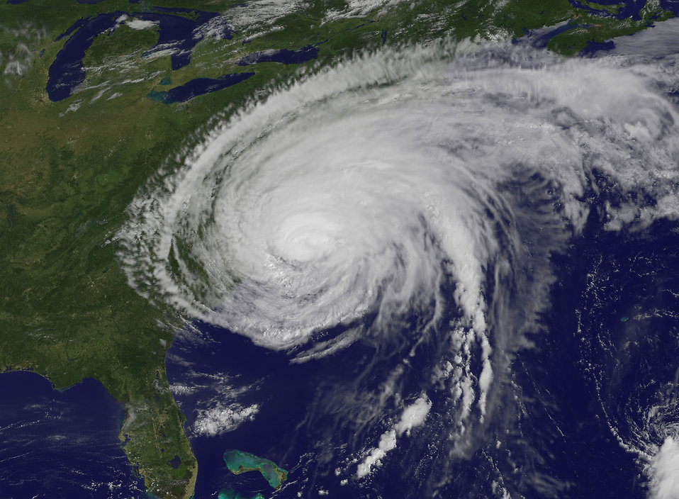 Satellite view of a hurricane : Free Stock Photo