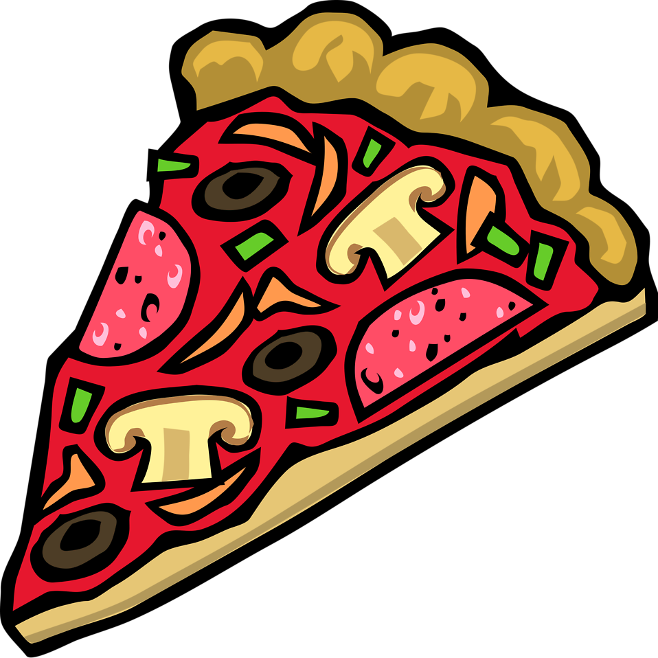 Illustration of a slice of pizza with toppings : Free Stock Photo