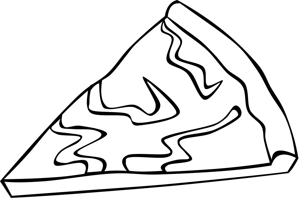Illustration of a slice of pizza with toppings with a transparent background.