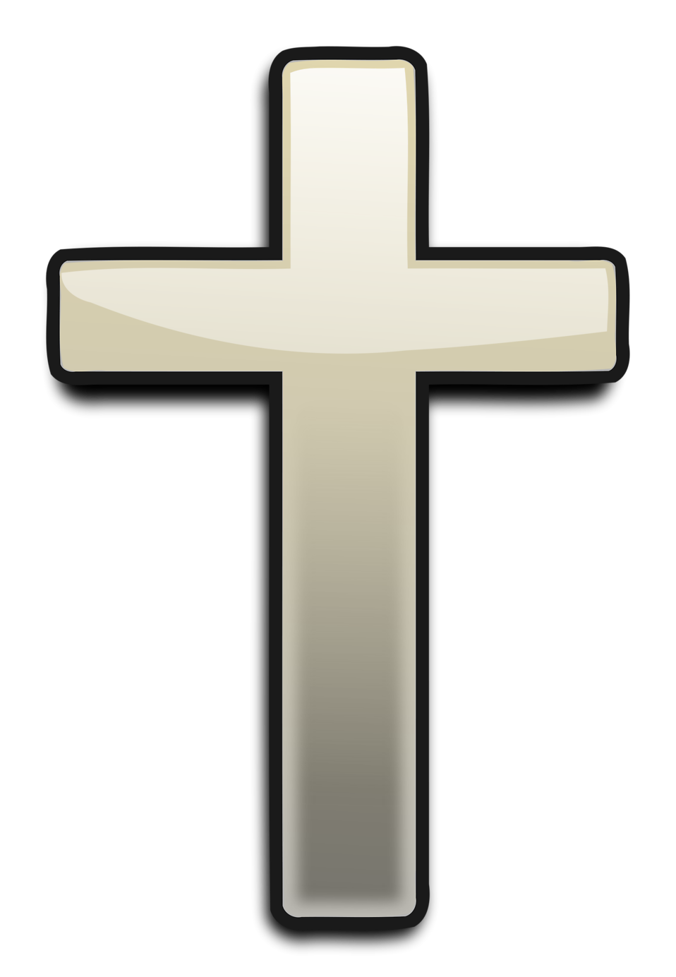 Illustration of a white cross with a transparent background.