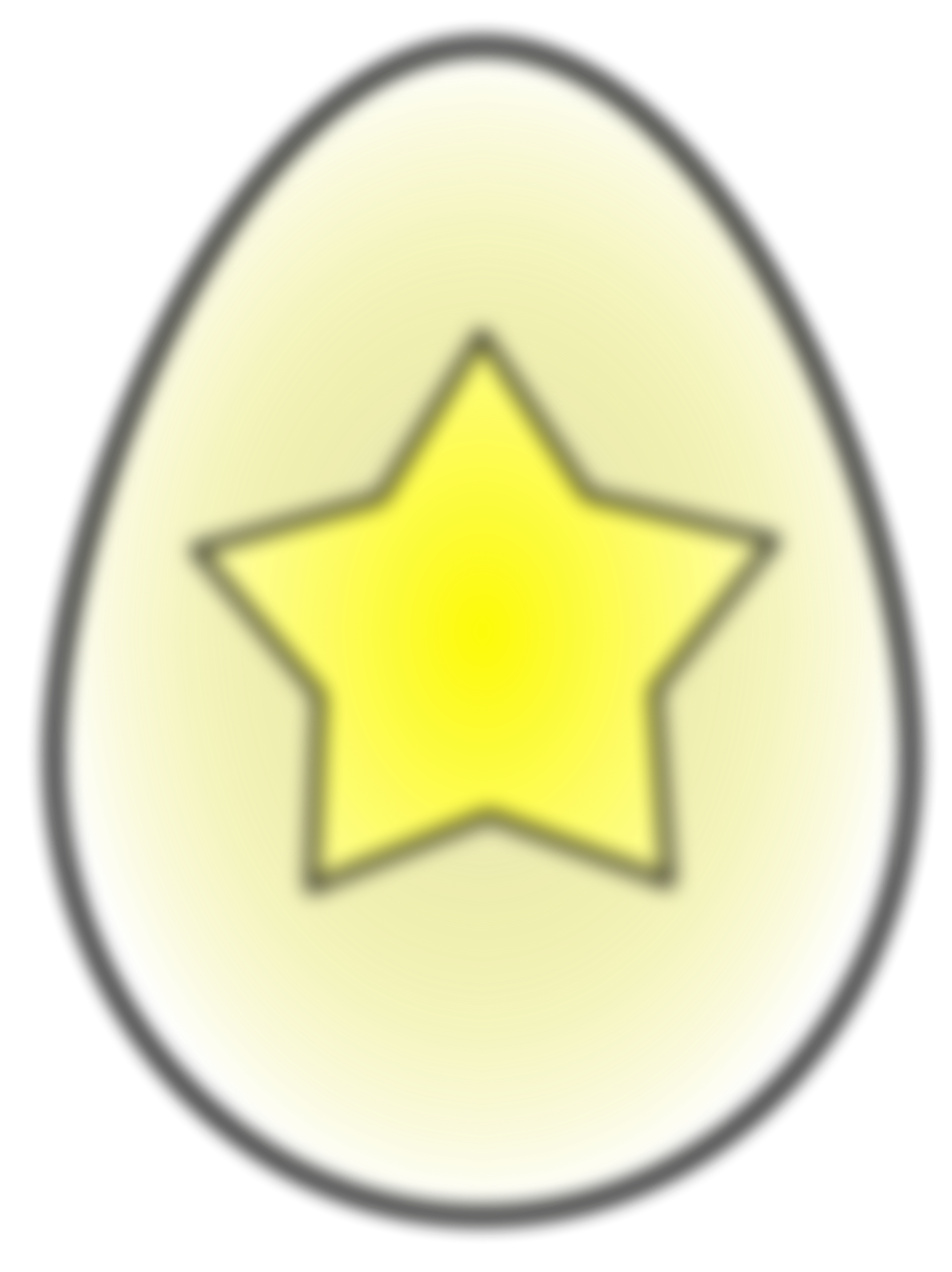 Illustration of an Easter egg painted with a yellow star with a transparent background.