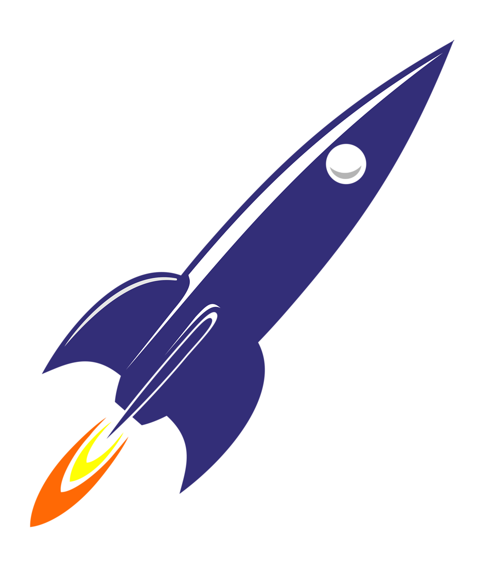 Illustration of a blue rocket : Free Stock Photo