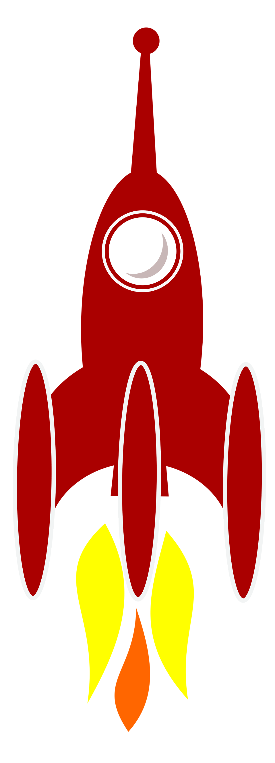 Illustration of a red rocket with a transparent background.
