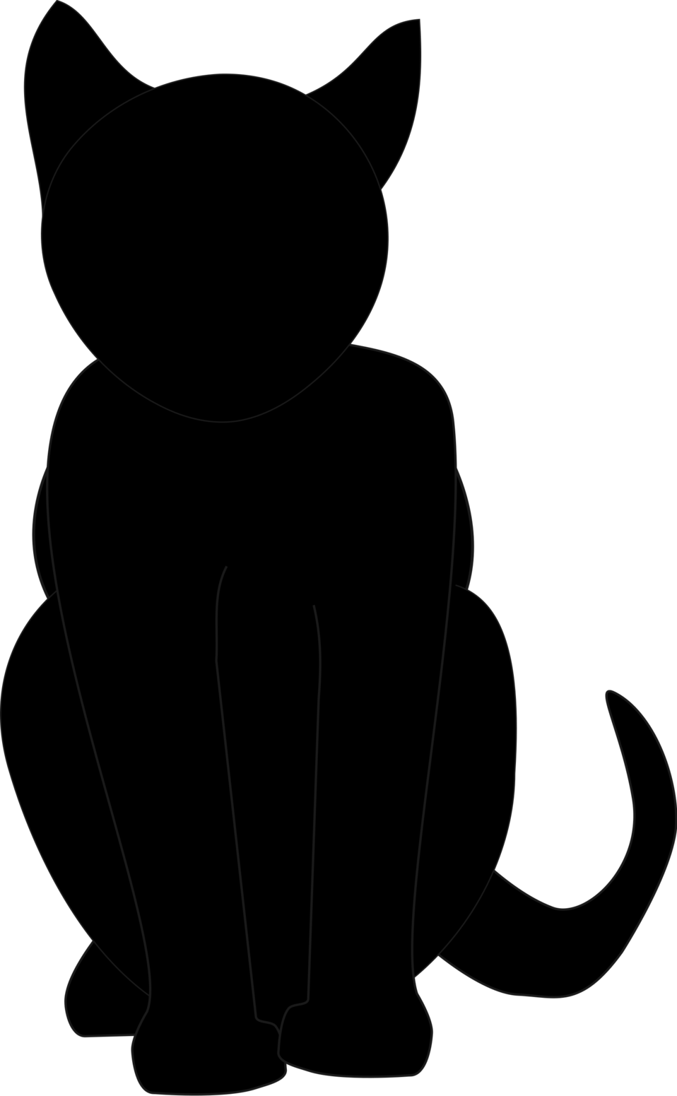 Illustrated silhouette of a black cat with a transparent background.