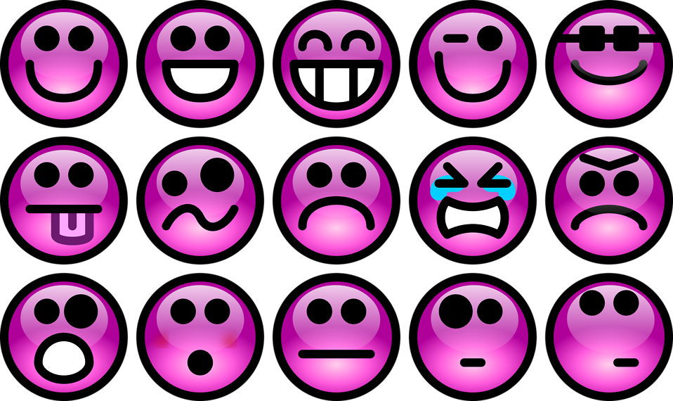 Collection of purple smiley faces with a transparent background.