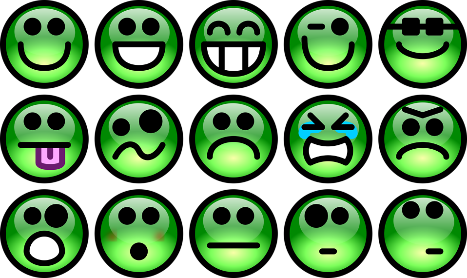 Collection of green smiley faces : Free Stock Photo