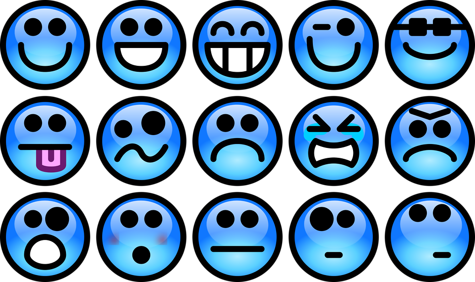 Collection of blue smiley faces : Free Stock Photo