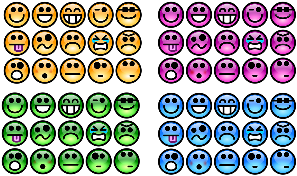 Collection of colorful smiley faces : Free Stock Photo