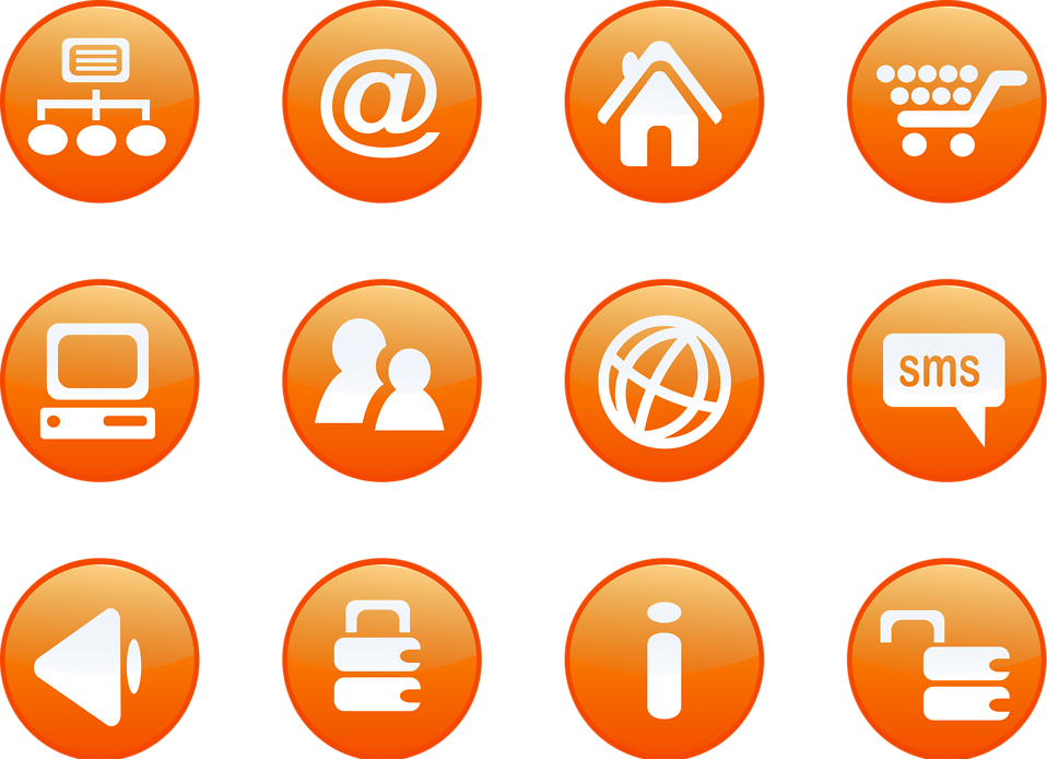 Collection of round orange icon buttons : Free Stock Photo