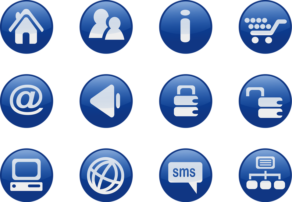 Collection of blue icon buttons : Free Stock Photo