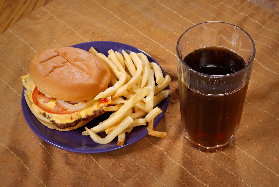 A cheese burger, french fries and a sweet tea. : Free Stock Photo