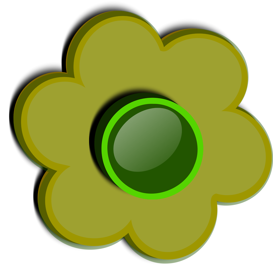 Illustration of a green flower : Free Stock Photo