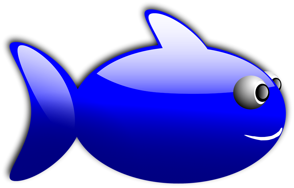 Illustration of a cartoon blue fish : Free Stock Photo