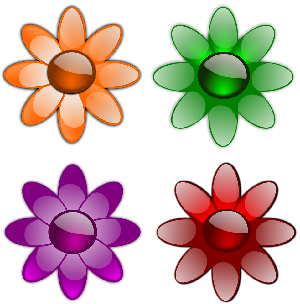 Illustration of a set of flowers : Free Stock Photo