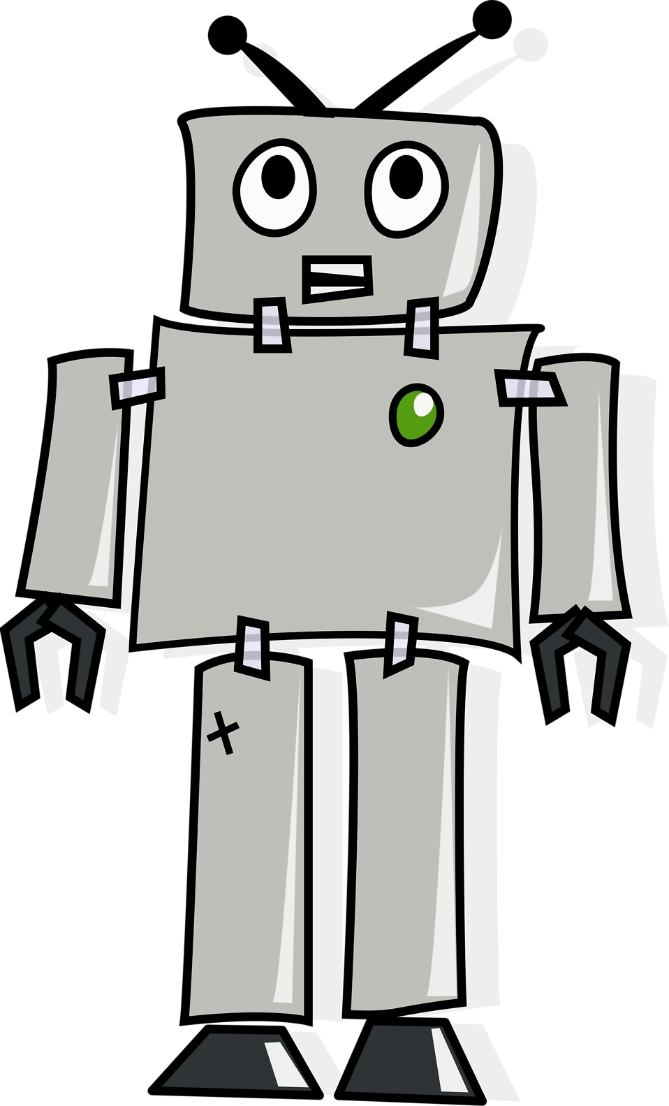 Illustration of a grey cartoon robot : Free Stock Photo