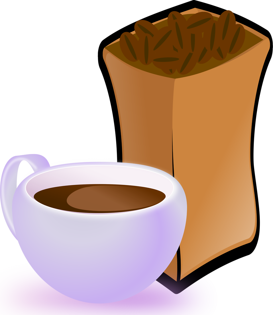 Illustration of a cup of coffee and beans : Free Stock Photo