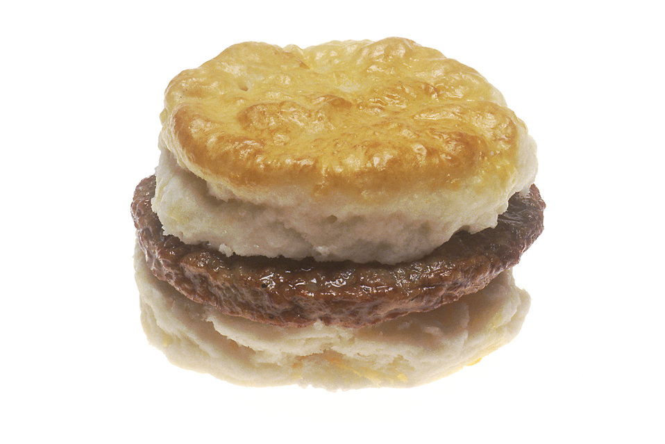 A sausage biscuit : Free Stock Photo