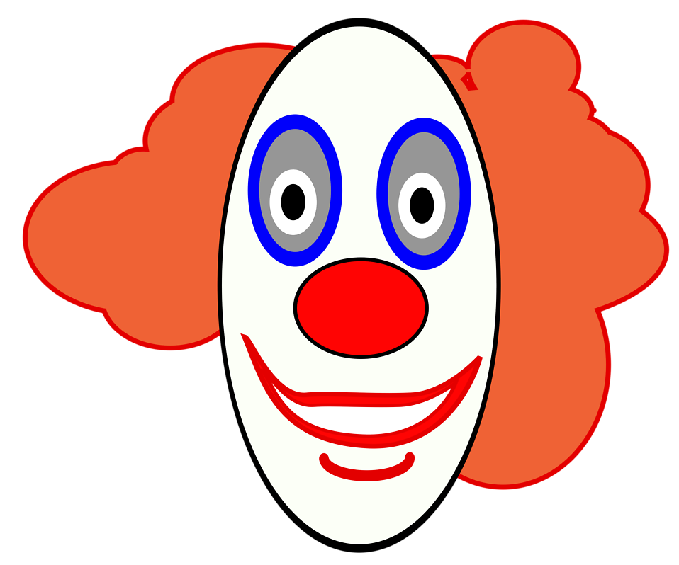 Illustration of a cartoon clown face : Free Stock Photo